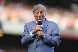 Tony Bennett sang during the seventh inning stretch during game 3 of the NLDS at ATT Park on Monday, Oct. 6, 2014 in San Francisco, Calif.