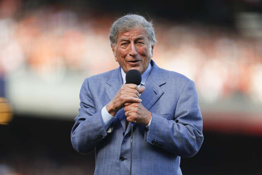 Tony Bennett sings during the seventh inning stretch of game 3 of the NLDS at AT&T Park on Oct. 6, 2014. Photo: Scott Strazzante, The Chronicle
