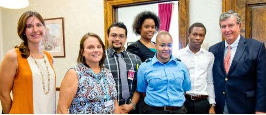 Glenmont Job Corps Center Student Government Association members visited with State Sen. Neil Breslin in his Albany office. Breslin discussed the law-making process and about their employment goals. From left are Amanda Vennard of the Senate staff; Ann Marie Morin job center business/community liaison; students Jorge Davilia, Larisa Bryan, Queen Azhane Byrd, Sahr Joe; and Breslin.