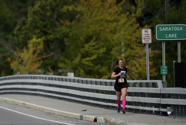 Annabelle Glass, 26, of Vancover, British Columbia participates in the Ragnar Relay Friday afternoon Sept. 25, 2015 in Saratoga Springs, N.Y.   (Skip Dickstein/Times Union) Photo: SKIP DICKSTEIN / 00033512A