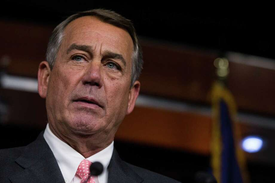 House Speaker John Boehner (R-Ohio) holds a news conference to announce he will give up his House seat, on Capitol Hill in Washington, Sept. 25, 2015. Under intense pressure from conservatives in his party, Boehner said Friday that he would resign from one of the most powerful positions in government at the end of October. (Zach Gibson/The New York Times) Photo: ZACH GIBSON / New York Times / NYTNS
