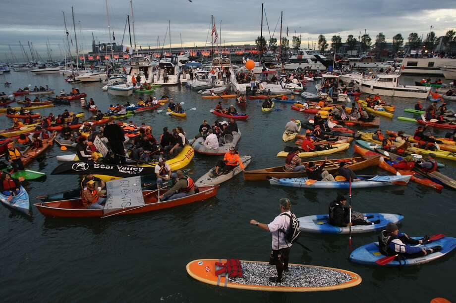 McCovey Cove was jam-packed during Game 1 of the 2010 World Series between the Giants and Texas Rangers.