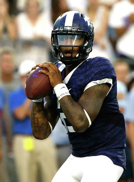 FORT WORTH, TX - SEPTEMBER 19: Trevone Boykin #2 of the TCU Horned Frogs looks to throw in the first quarter against the Southern Methodist Mustangs at Amon G. Carter Stadium on September 19, 2015 in Fort Worth, Texas. (Photo by Ron Jenkins/Getty Images) Photo: Ron Jenkins, Stringer / 2015 Getty Images