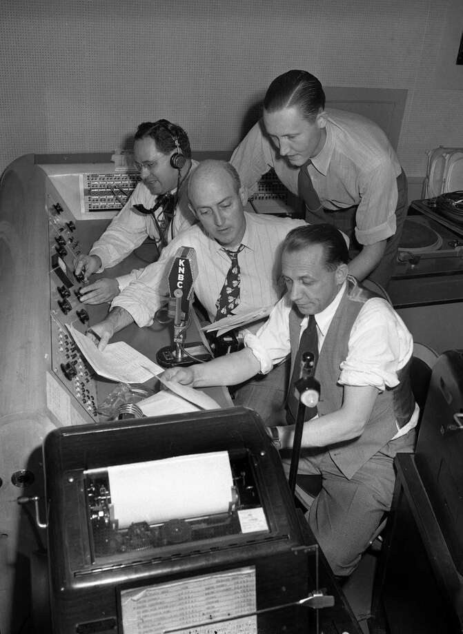 Election night at station KNBC in 1948, when radio was strong in San Francisco, but not as big as it would become in the 1950s and beyond. Photo: Aaron Rubino / Aaron Rubino / The Chronicle 1948 / ONLINE_YES