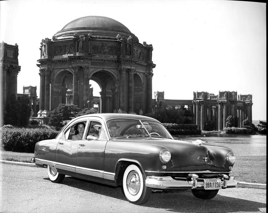 A new car from the Kaiser-Frazer Corp. in front of the Palace of Fine Arts. The photo ran in The Chronicle on May 14, 1950.