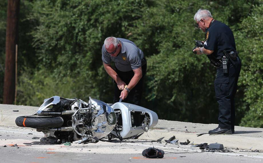 Beaugard's motorcycle collided with a pickup turning around on West Loop 1604 at Wiseman Boulevard last week. Photo: John Davenport /San Antonio Express-News / ©San Antonio Express-News