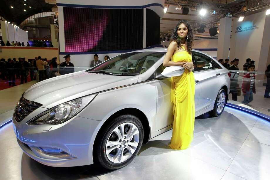 A Hyundai Sonata was on display during a 2012  auto show in New Delhi, India. Photo: Saurabh Das, STF / AP