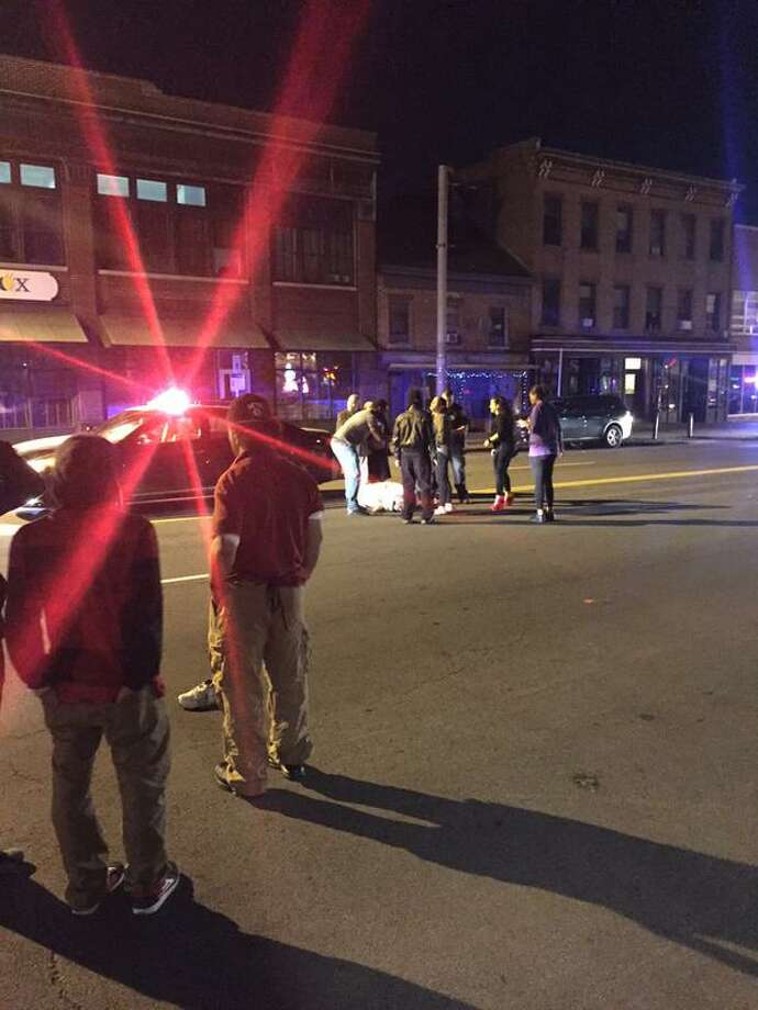 A man was hospitalized Friday night after being struck by a car on Central Avenue between Lexington and Henry Johnson Boulevard in Albany. The windshield of the car was smashed. The incident happened at about 10:30 p.m. No information was immediately available from police.  (Dartunorro Clark)