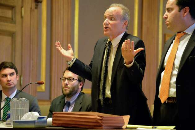 Attorney Steven Russo for the Democrats, center, gestures during a Women's Equality Party hearing before Albany County State Supreme Court Acting Justice Richard Platkin in Albany County Court Friday Sept. 25, 2015 in Albany, NY. (John Carl D'Annibale / Times Union) Photo: John Carl D'Annibale / 00033506A