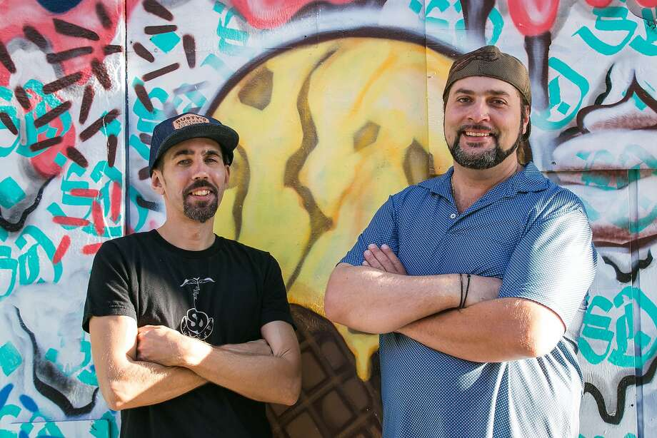 Owners of Shakedown Jeffery Mann and Paul Moore at their ice cream shop on Geary in the Tenderloin. Photo: Jen Fedrizzi, Special To The Chronicle