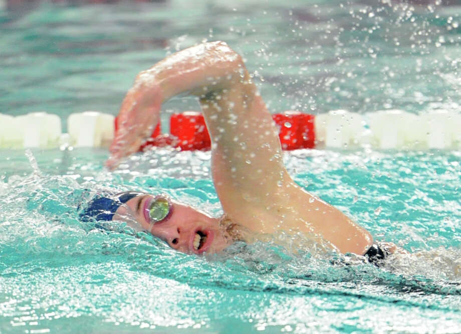 Aileen Coyne of Staples swims the 200 free-style event during the girls high school swimming meet between Greenwich High School and Staples High School at Greenwich, Conn., Thursday, Sept. 24, 2015. Photo: Bob Luckey Jr. / Hearst Connecticut Media / Greenwich Time