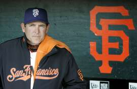 San Francisco Giants pitching coach Dave Righetti is shown in the dugout before a baseball game against the Chicago Cubs in San Francisco, Wednesday, July 2, 2008.  Friday July 4 marks the 25th anniversary since Righetti no-hit Boston for the Yankees in 1983. (AP Photo/Jeff Chiu)