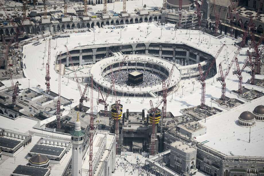 An aerial view shows the Grand mosque and the Kaaba (center) in Saudi Arabia's holy Muslim city of Mecca. Photo: Mohammed Al-shaikh, AFP / Getty Images
