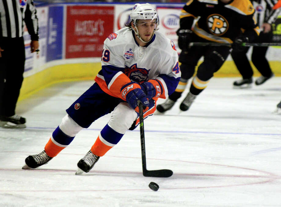Sebastian Collberg was one of 10 players the New York Islanders sent down to the Bridgeport Sound Tigers on Saturday. Photo: Christian Abraham / Christian Abraham / Connecticut Post