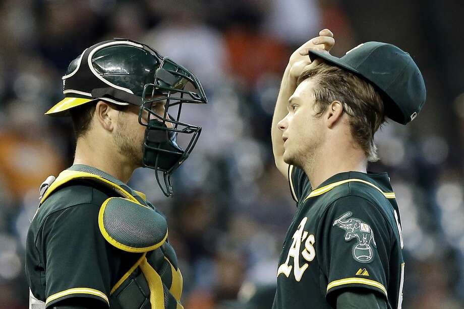 Oakland Athletics catcher Carson Blair, left, talks with starting pitcher Sonny Gray in the first inning of a baseball game against the Houston Astros, Saturday, Sept. 19, 2015, in Houston. (AP Photo/Pat Sullivan) Photo: Pat Sullivan, Associated Press