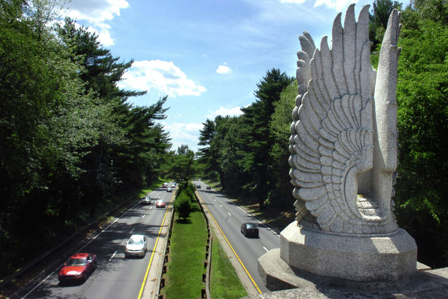 Uplifted wing sculptures by Edward Ferrari decorate the James Farm Rd. bridge over the Merritt Parkway in Stratford. The bridge was built in 1940. Photo: Ned Gerard / Ned Gerard / Connecticut Post