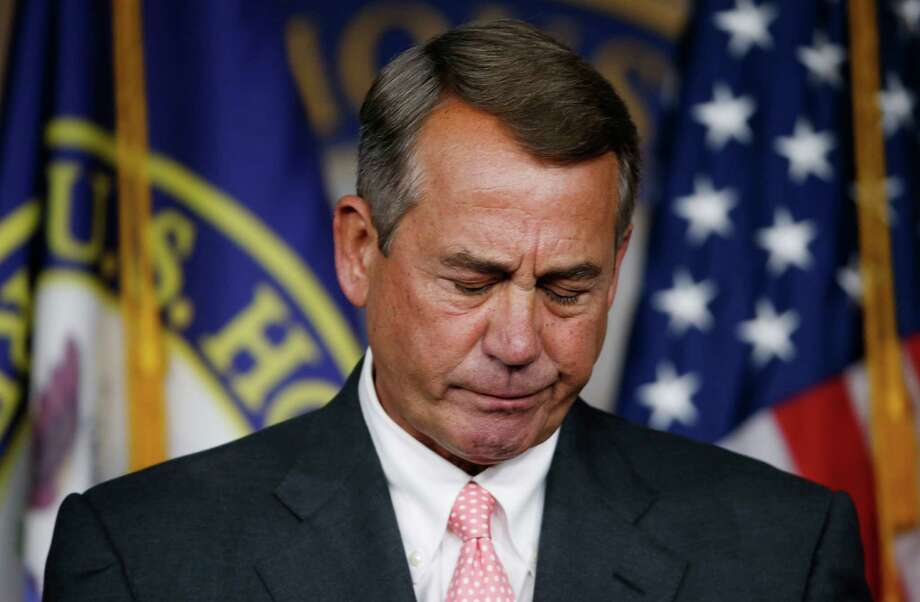 House Speaker John Boehner of Ohio pauses during a news conference on Capitol Hill in Washington, Friday, Sept. 25, 2015. In a stunning move, Boehner informed fellow Republicans on Friday that he would resign from Congress at the end of October, stepping aside in the face of hardline conservative opposition that threatened an institutional crisis. (AP Photo/Steve Helber) Photo: Steve Helber, STF / AP