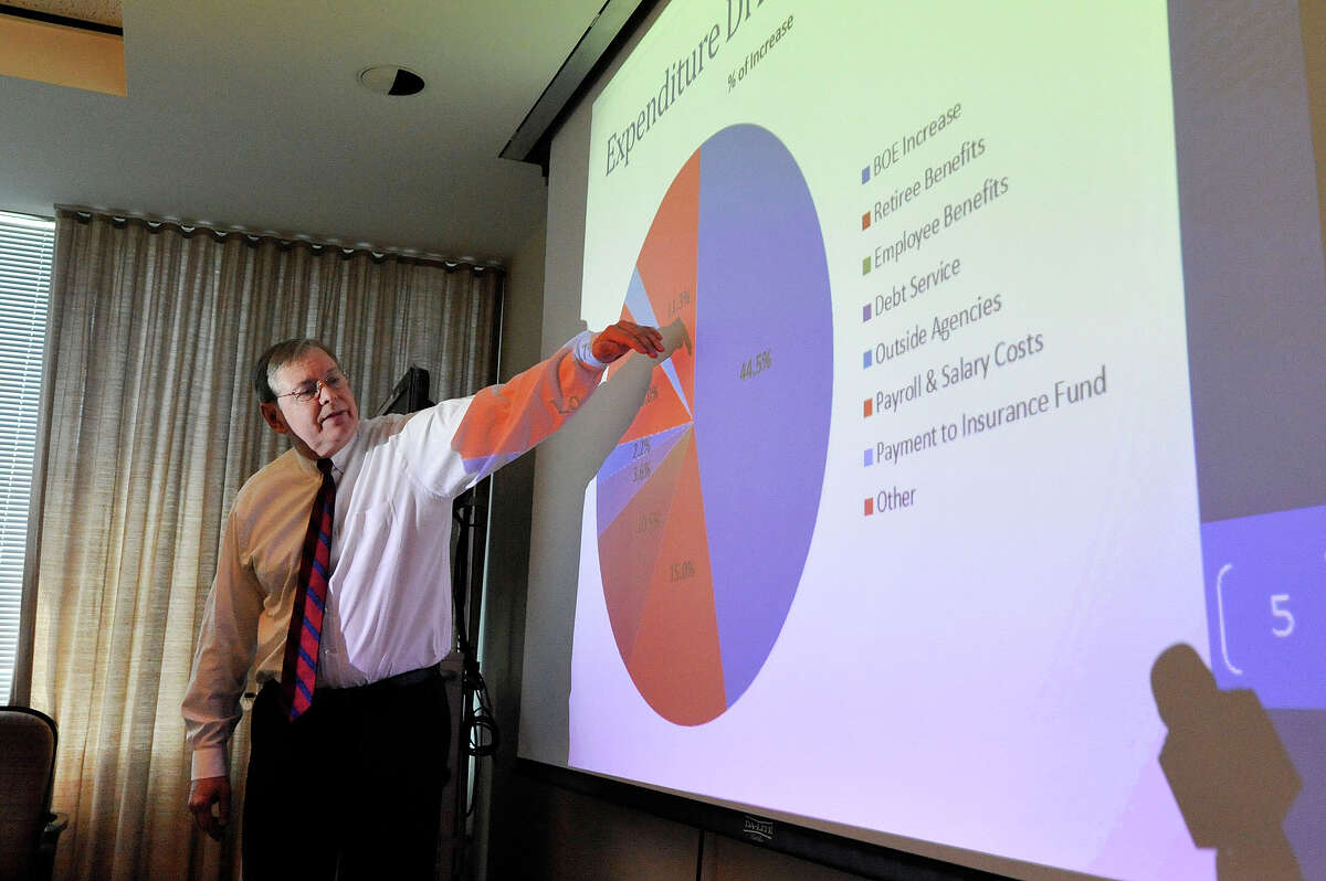 Mayor David Martin gives his budget presentation to the press at the Stamford Government Center in March.