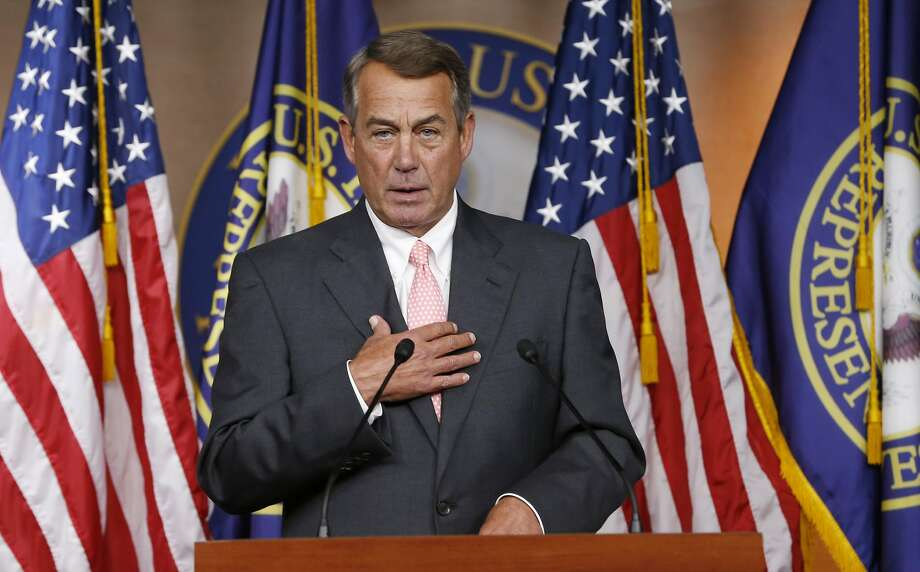 FILE - In this Sept. 25, 2015 file photo, House Speaker John Boehner of Ohio announces on Capitol Hill in Washington, that he will resign from Congress at the end of October. The gulf between tea party conservatives and establishment Republicans has gotten so big it just swallowed up the speaker of the House and may threaten the entire Republican Party and Congress itself.  (AP Photo/Steve Helber, File) Photo: Steve Helber, Associated Press