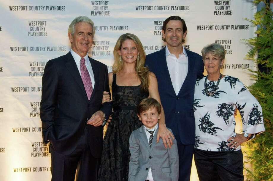 Honoree Kelli O'Hara, second from left, with her family: father-in-law, actor James Naughton; son Owen; husband Greg Naughton and mother, Laura O'Hara, at the Westport County Playhouse last week. Photo: Contributed Photo / / Steve Walter Photography 2011