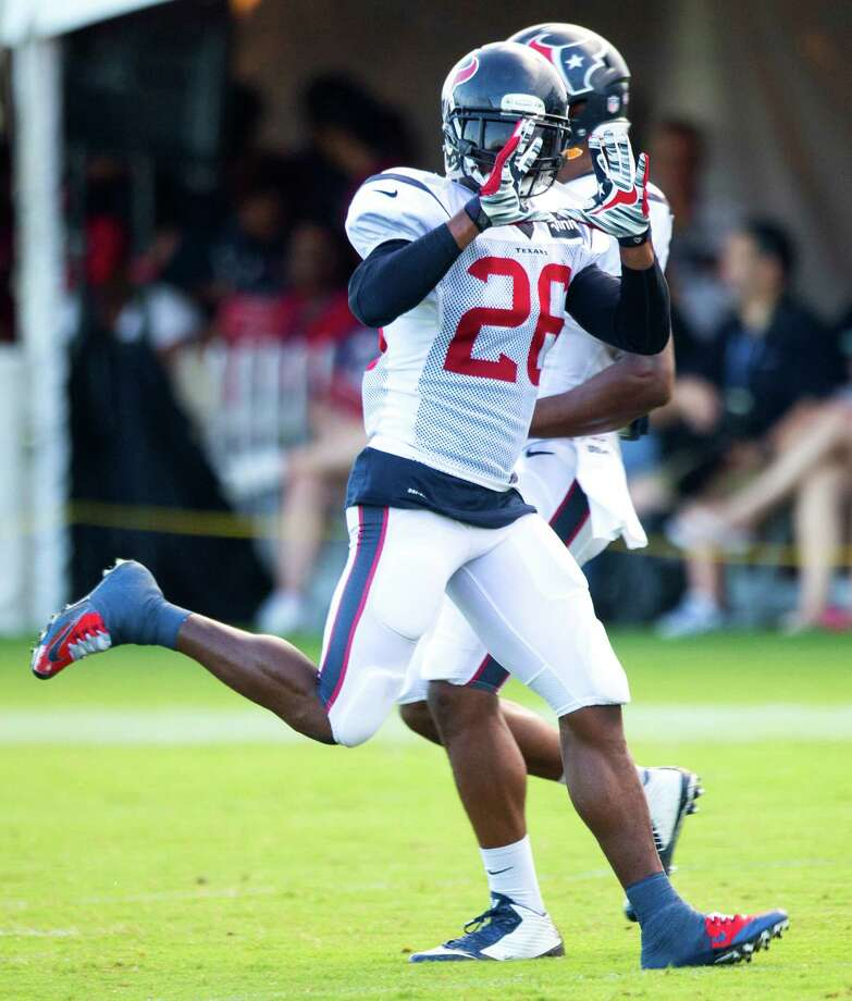 Houston Texans defensive back Rahim Moore (26) runs a coverage drill during Texans training camp at the Methodist Training Center Wednesday, Aug. 19, 2015, in Houston.  ( Brett Coomer / Houston Chronicle ) Photo: Brett Coomer, Staff / © 2015 Houston Chronicle
