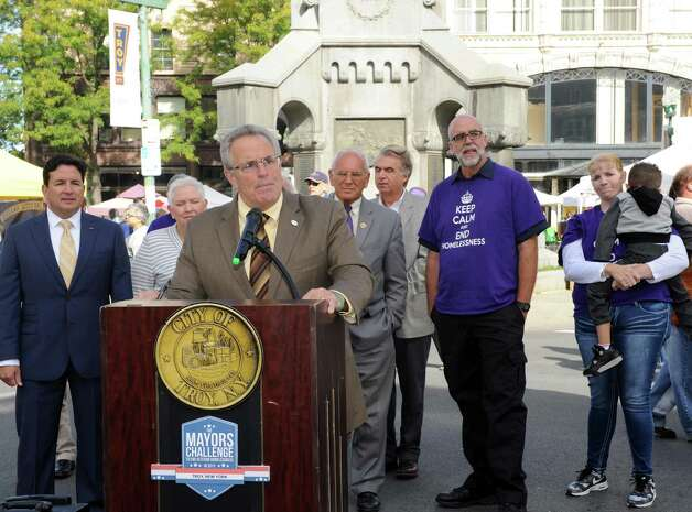 Mayor Lou Rosamilia joined with Congressman Paul Tonko, officials from the U.S. Department of Housing and Urban Development (HUD), the U.S. Department of Veterans Affairs (VA), and key community partners to announce that the City of Troy has achieved the goal of ending homelessness among Veterans on Saturday Sept. 26, 2015 in Troy, N.Y.  (Michael P. Farrell/Times Union) Photo: Michael P. Farrell