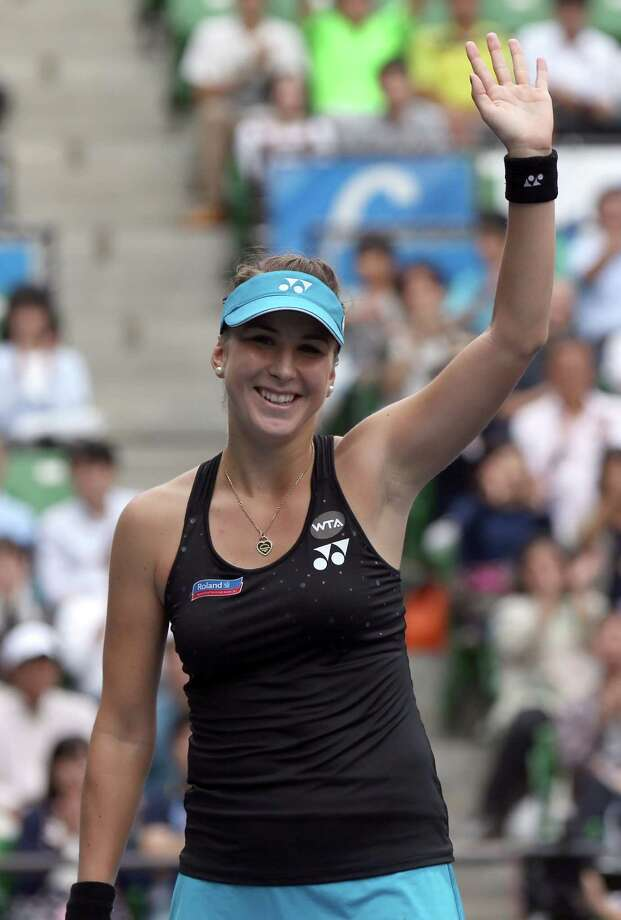 Belinda Bencic of Switzerland acknowledges the crowd after defeating Caroline Wozniacki of Denmark during a semifinal match at the Pan Pacific Open women?s tennis tournament in Tokyo, Saturday, Sept. 26, 2015. (AP Photo/Eugene Hoshiko) ORG XMIT: XEH104 Photo: Eugene Hoshiko / AP