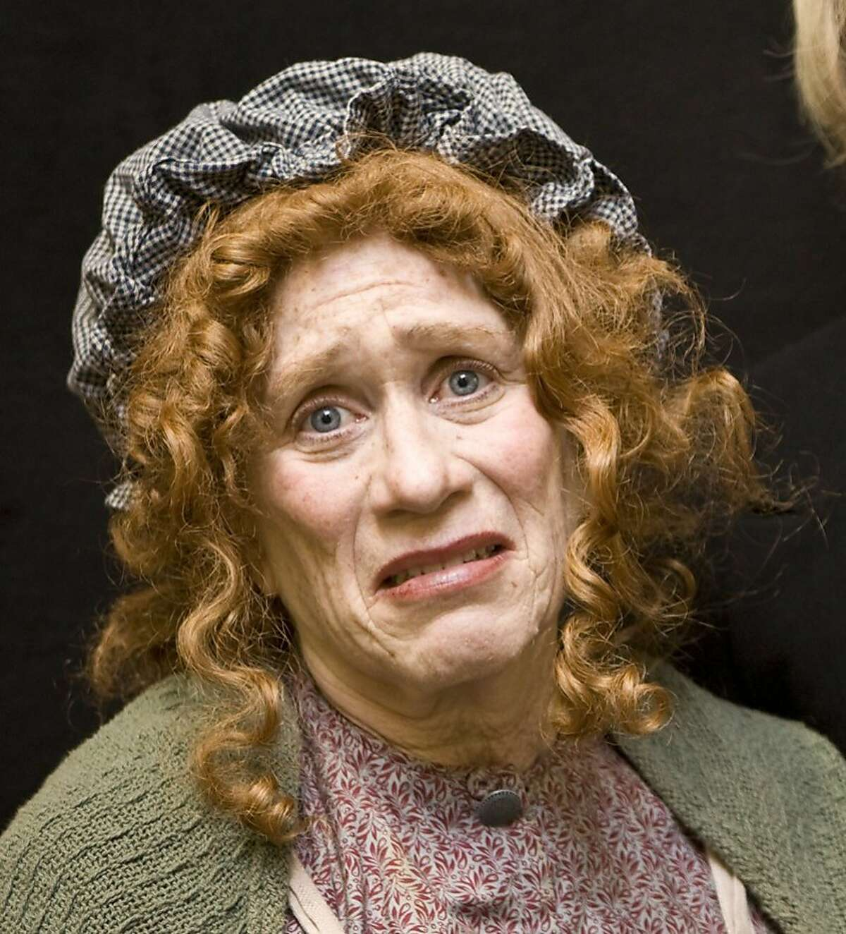 """Joan Mankin in the title role of """"Mrs. Bob Cratchit's Wild Christmas Ride"""" at San Francisco Playhouse in 2007"""