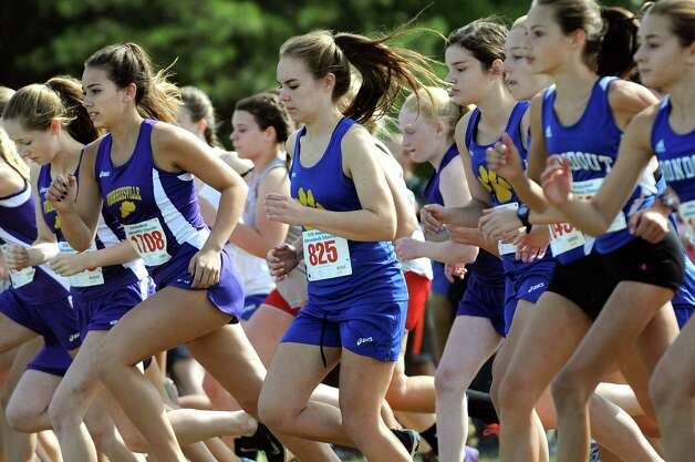 The Division 2 girls start their race during the Queensbury Invitational cross country meet on Saturday, Sept. 26, 2015, at Queensbury High in Queensbury, N.Y. (Cindy Schultz / Times Union) Photo: Cindy Schultz / 10033478A