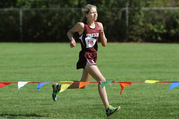 Greenville's Olivia Baumann comes in first in the Division 2 girls' race during the Queensbury Invitational cross country meet on Saturday, Sept. 26, 2015, at Queensbury High in Queensbury, N.Y. (Cindy Schultz / Times Union) Photo: Cindy Schultz / 10033478A