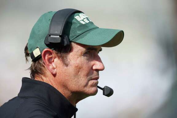 WACO, TX - SEPTEMBER 26:  Head coach Art Briles of the Baylor Bears leads his team against the Rice Owls at McLane Stadium on September 26, 2015 in Waco, Texas.