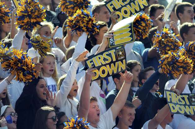 Queensbury fans cheer for their team during their football game against Burnt Hills on Saturday, Sept. 26, 2015, at Queensbury High in Queensbury, N.Y. (Cindy Schultz / Times Union) Photo: Cindy Schultz / 10033493A