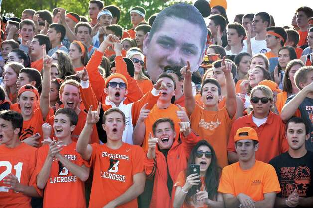 Bethlehem fans cheer on their team during Saturday's game against Schenectady High Sept. 26, 2015 in Bethlehem,NY.  (John Carl D'Annibale / Times Union) Photo: John Carl D'Annibale / 00033505B