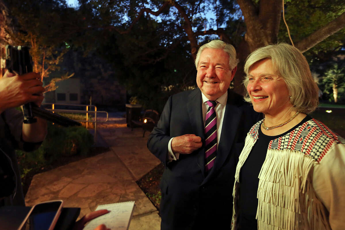 Frank A. Bennack Jr., executive vice chairman of Hearst Corporation, (left) and his wife Dr. Mary Lake Polan answer questions during the SA150th gala at the Alamo on Saturday Sept. 26, 2015. Dignitaries celebrated the 150th anniversary of the founding of the San Antonio Express-News.