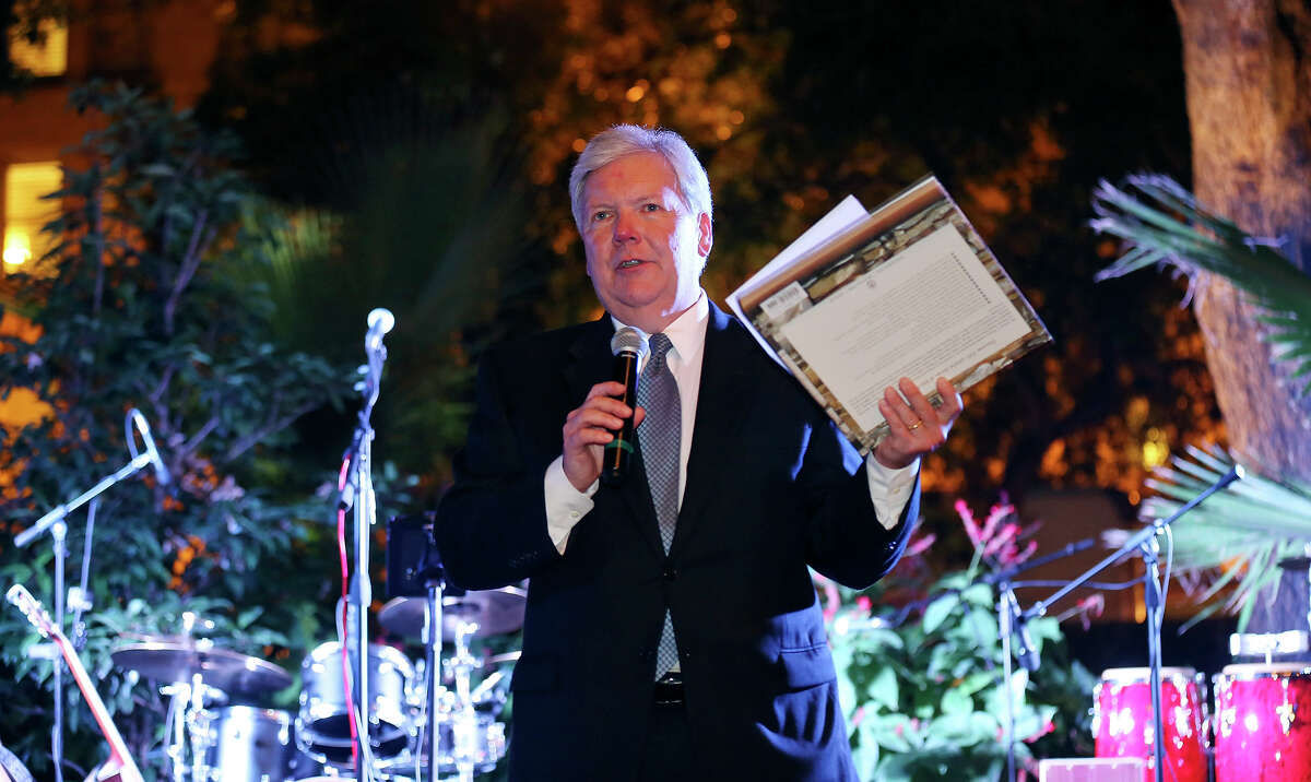 """John C. McKeon, publisher and president of the San Antonio Express-News, speaks during the gala. """"In a sense, our 150th anniversary won't end tomorrow but will go on for many years,"""" he said."""