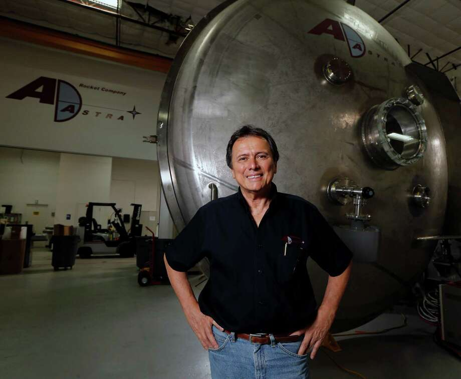 Franklin Chang-Diaz, former astronaut and developer of VASIMR rocket poses for a portrait in front of the door of the engine test vacuum chamber during a tour of Ad Astra Rocket Company. Photo: James Nielsen, Houston Chronicle / © 2015  Houston Chronicle