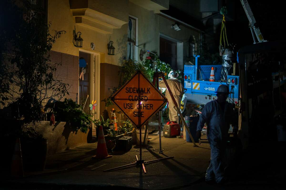 Crews work at 8 Heyman Avenue after injuries from an explosion of a transformer put one man in the hospital on Saturday, Sept. 26, 2015 in San Francisco, Calif.