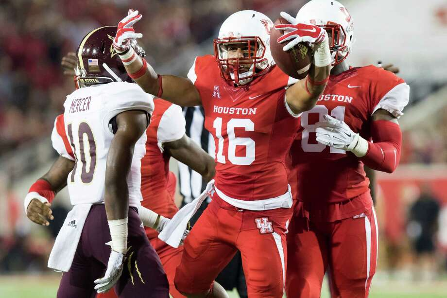 UH safety Adrian McDonald celebrates after recovering a fumble in the second quarter of Saturday night's victory over Texas State at TDECU Stadium. The Cougars scored a touchdown on the ensuing possession. Photo: Joe Buvid, Freelance / © 2015 Joe Buvid