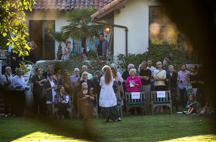 Margaret Jenkins, the iconic dancer and artist born and bred in San Francisco, addresses her guests at the Berkeley home of Naomie and Charles Kremer where members of her dance company perform on Saturday, Sept. 26, 2015 in Berkeley, Calif. Photo: Nathaniel Y. Downes, The Chronicle