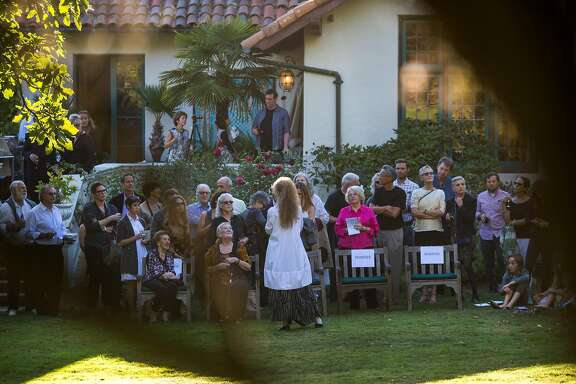 Margaret Jenkins, the iconic dancer and artist born and bred in San Francisco, addresses her guests at the Berkeley home of Naomie and Charles Kremer where members of her dance company perform on Saturday, Sept. 26, 2015 in Berkeley, Calif.