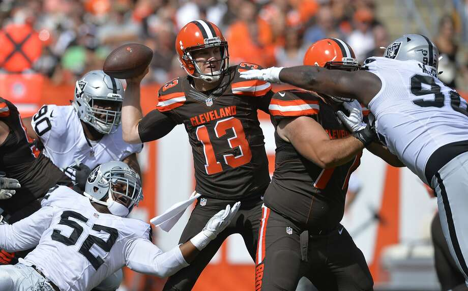 Cleveland Browns quarterback Josh McCown (13) throws against the Oakland Raiders during an NFL football game, Sunday, Sept. 27, 2015, in Cleveland. (AP Photo/David Richard) Photo: David Richard, Associated Press