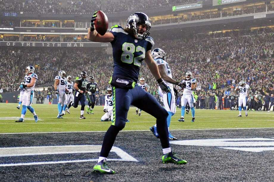 SEATTLE, WA - JANUARY 10:  Luke Willson #82 of the Seattle Seahawks celebrates after scoring a 25 yard touchdown in the fourth quarter against the Carolina Panthers during the 2015 NFC Divisional Playoff game at CenturyLink Field on January 10, 2015 in Seattle, Washington. Photo: Steve Dykes, Getty Images / 2015 Getty Images