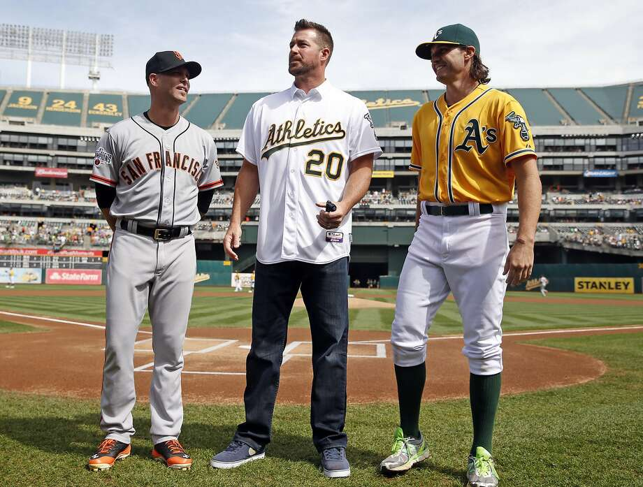 San Francisco Giants' Tim Hudson, Mark Mulder and Oakland A's Barry Zito are honored before MLB game at O.co Coliseum in Oakland, Calif., on Sunday, September 27, 2015. Photo: Scott Strazzante, The Chronicle