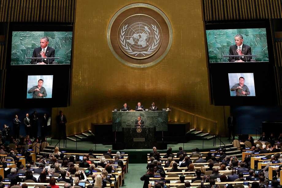 President Obama addresses the 2015 Sustainable Development Summit at United Nations headquarters. Photo: Richard Drew, Associated Press