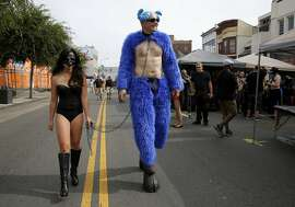 A couple at the Folsom Street Fair in San Francisco, California, on Sunday, Sept. 27, 2015.