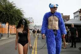 A couple at the Folsom Street Fair in San Francisco, California, on Sunday, Sept. 27, 2015.