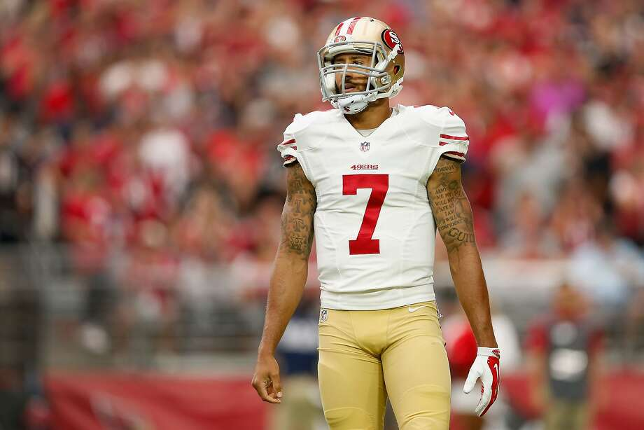 GLENDALE, AZ - SEPTEMBER 27: Quarterback Colin Kaepernick #7 of the San Francisco 49ers reacts as he stands on the field during the first half of the NFL game against Arizona Cardinals at the University of Phoenix Stadium on September 27, 2015 in Glendale, Arizona.  (Photo by Christian Petersen/Getty Images) Photo: Christian Petersen, Getty Images