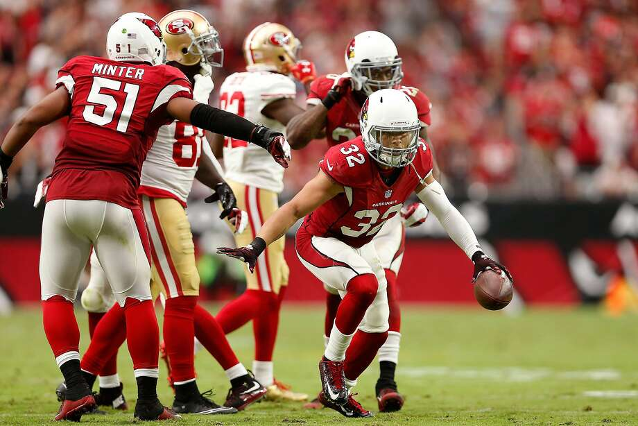 Free safety Tyrann Mathieu #32 of the Arizona Cardinals celebrates after an interception during the second quarter of the NFL game against the San Francisco 49ers at the University of Phoenix Stadium on September 27, 2015 in Glendale, Arizona.  (Photo by Christian Petersen/Getty Images) Photo: Christian Petersen, Getty Images