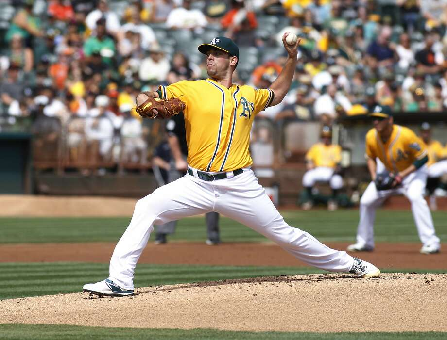 Oakland Athletics pitcher Sean Nolin throws to the San Francisco Giants during the first inning of a baseball game, Sunday, Sept. 27, 2015, in Oakland, Calif. (AP Photo/George Nikitin) Photo: George Nikitin, Associated Press