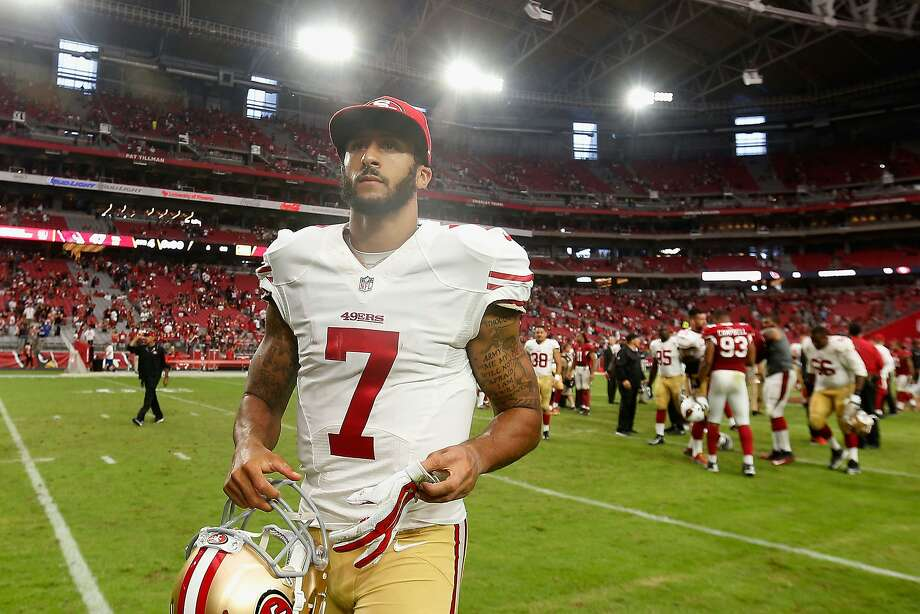 GLENDALE, AZ - SEPTEMBER 27:  Quarterback Colin Kaepernick #7 of the San Francisco 49ers walks off the field after being defeated by the Arizona Cardinals 47-7 in the NFL game at the University of Phoenix Stadium on September 27, 2015 in Glendale, Arizona.  (Photo by Christian Petersen/Getty Images) Photo: Christian Petersen, Getty Images